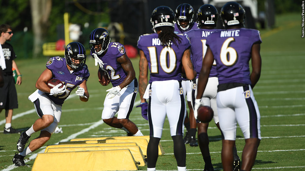 Ravens16-camp-receivers-campanaro-wallace-moore-white