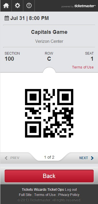 Mobile App ticket image