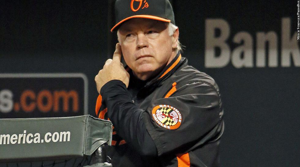 Orioles 2013: Buck Showalter (giving signs)