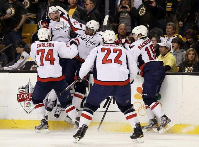 Joel Ward and the Capitals celebrate a Game 7 win over Boston