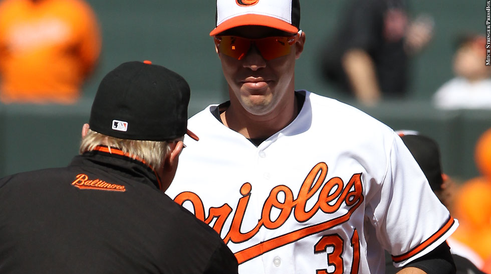 Orioles 2014: Ubaldo Jimenez (with Buck Showalter, Opening Day)