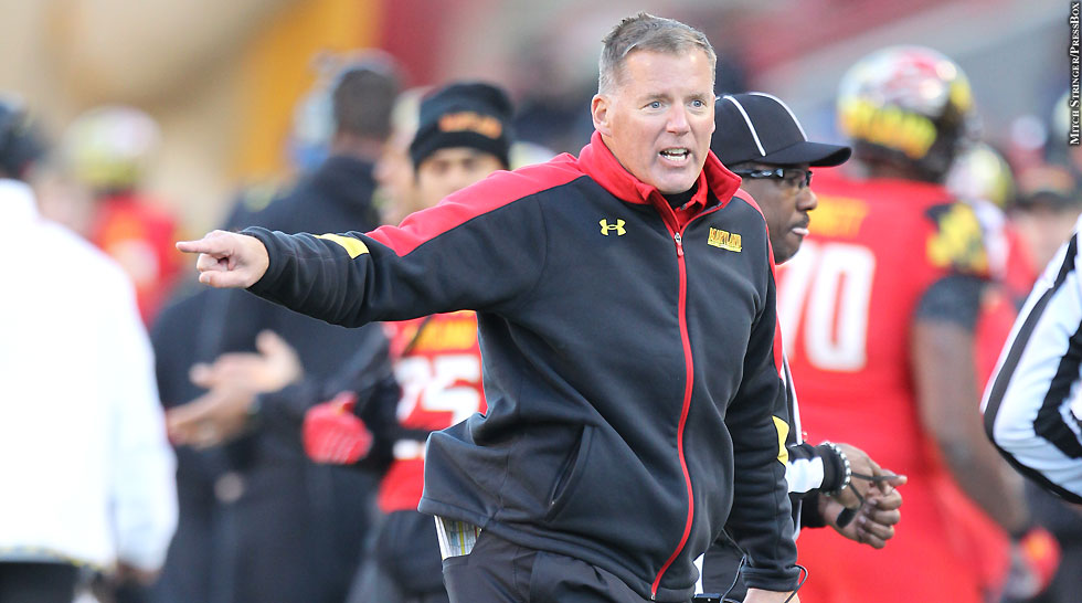 Terps Football 2013: Randy Edsall (pointing)