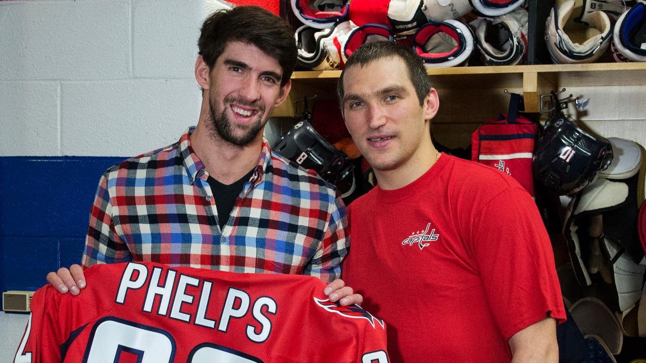 Michael Phelps at #CapsDevils 12/22/13